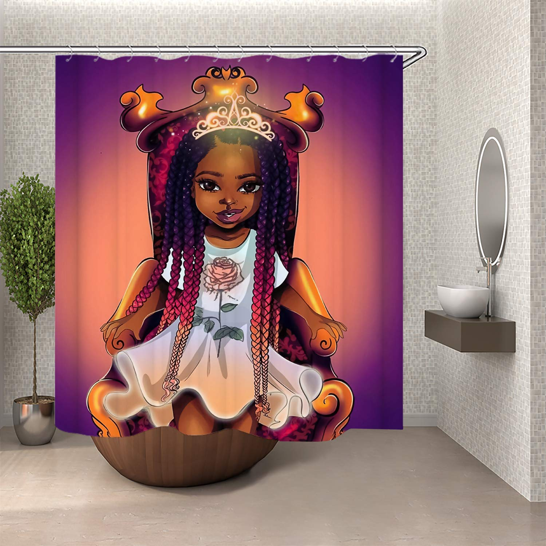 afro girl magic black queen african american bathroom shower curtain