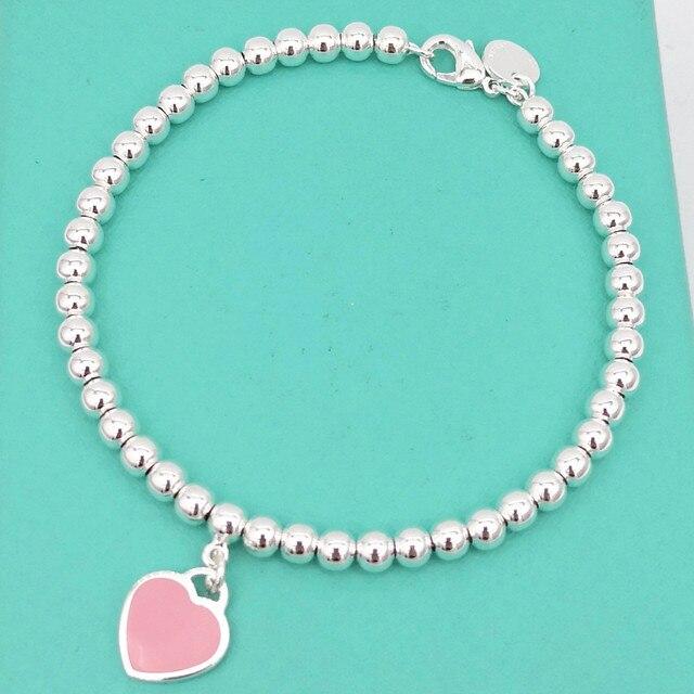 1 1 prata esterlina 925 clássico moda popular rosa coração cartão 4mm contas redondas senhoras pulseira jóias presente do feriado