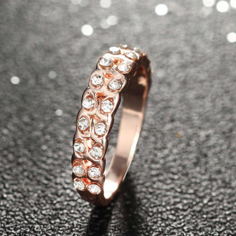 ใหม่คริสตัล Rose Gold แหวน Leaf Shape แหวนสำหรับสุภาพสตรีแฟชั่นแหวนนิ้วมือสำหรับของขวัญวันเกิดของขวัญ