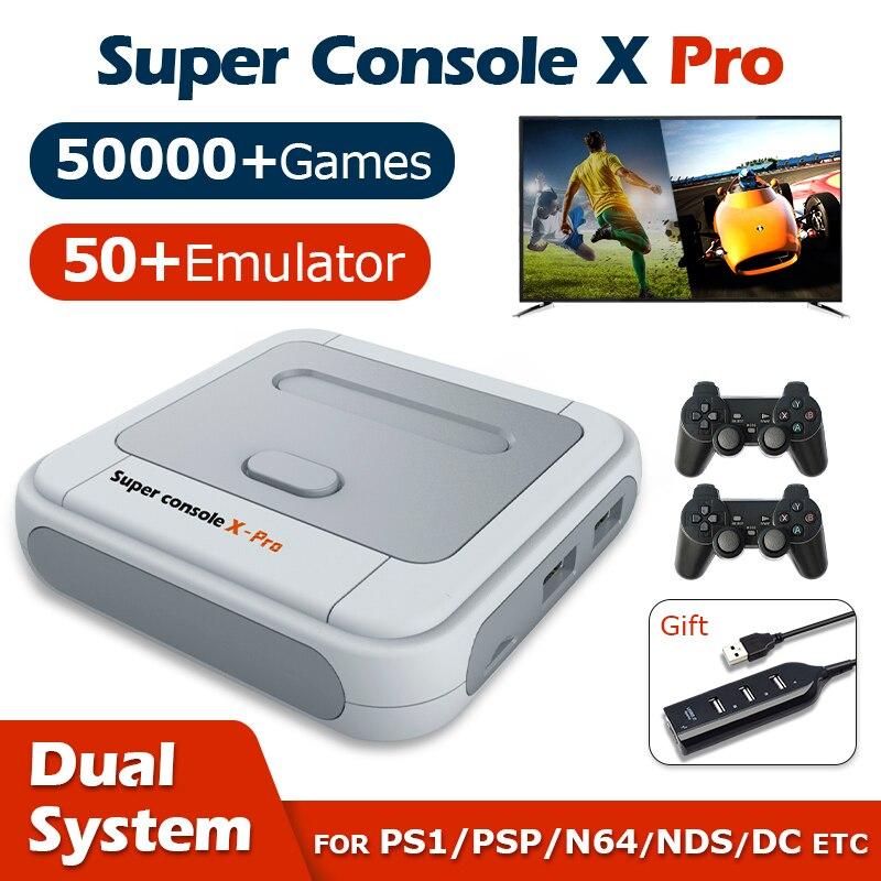 רטרו וידאו משחק קונסולת סופר קונסולת X פרו Wifi 4K HD עבור PSP /PS1/N64/DC מיני טלוויזיה משחק שחקנים עם 50000 + משחקים 50 + אמולטור