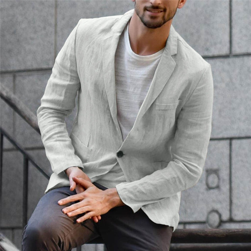 New Arrival Men Blazer Linen Jacket Slim Fit Coat Casual Outwear Single Breasted Male Jacket Coats High Quality Plus Size