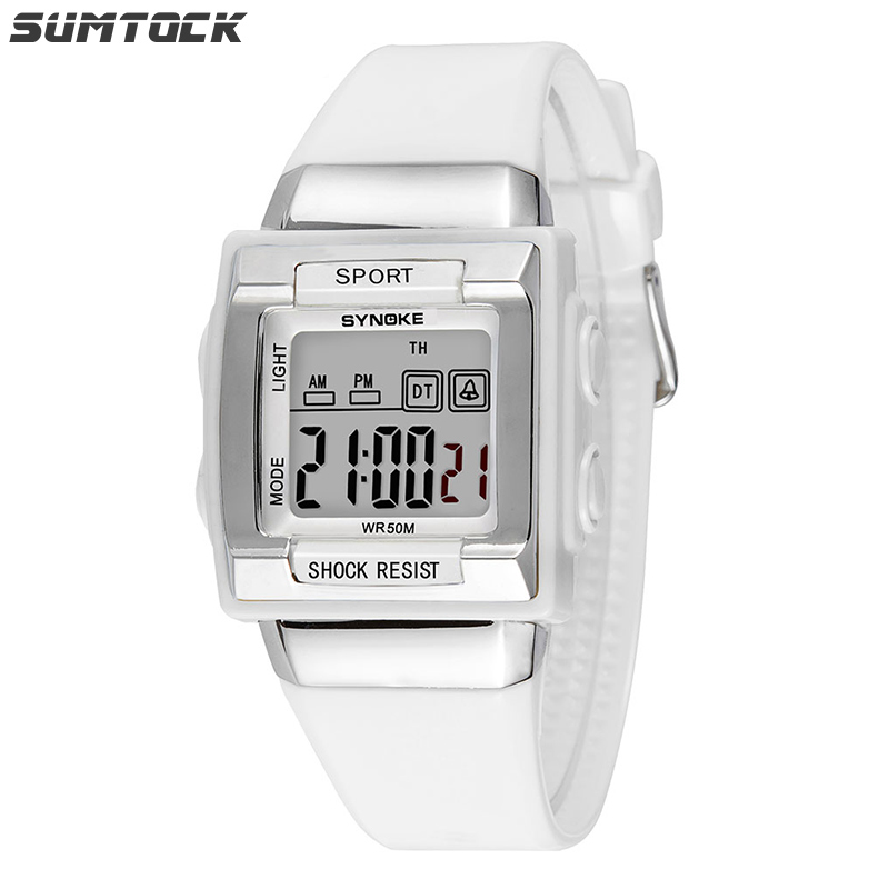 SUMTOCK Sport White Kids Digital Watch Rectangular Electronic Watch For Student Boys Girls Week Display Waterproof Watch Gift