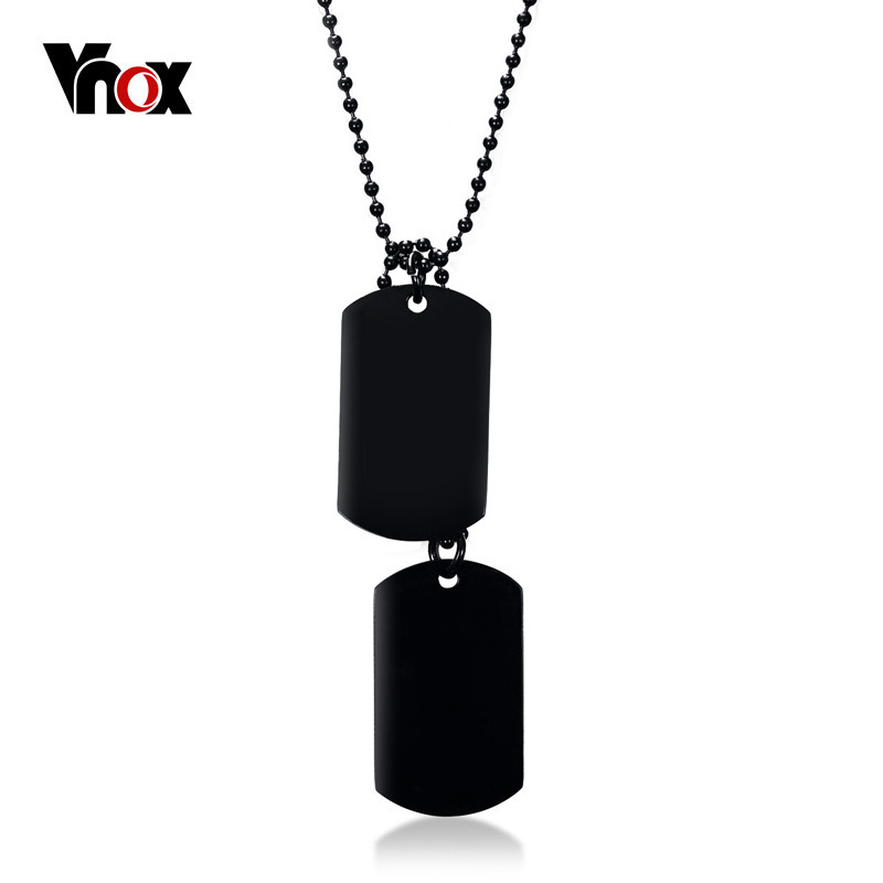 """Vnox Stainless Steel Double Dog Tag Necklace for Men High Polished Pendant ID Men Jewelry 24"""" Chain Necklace"""