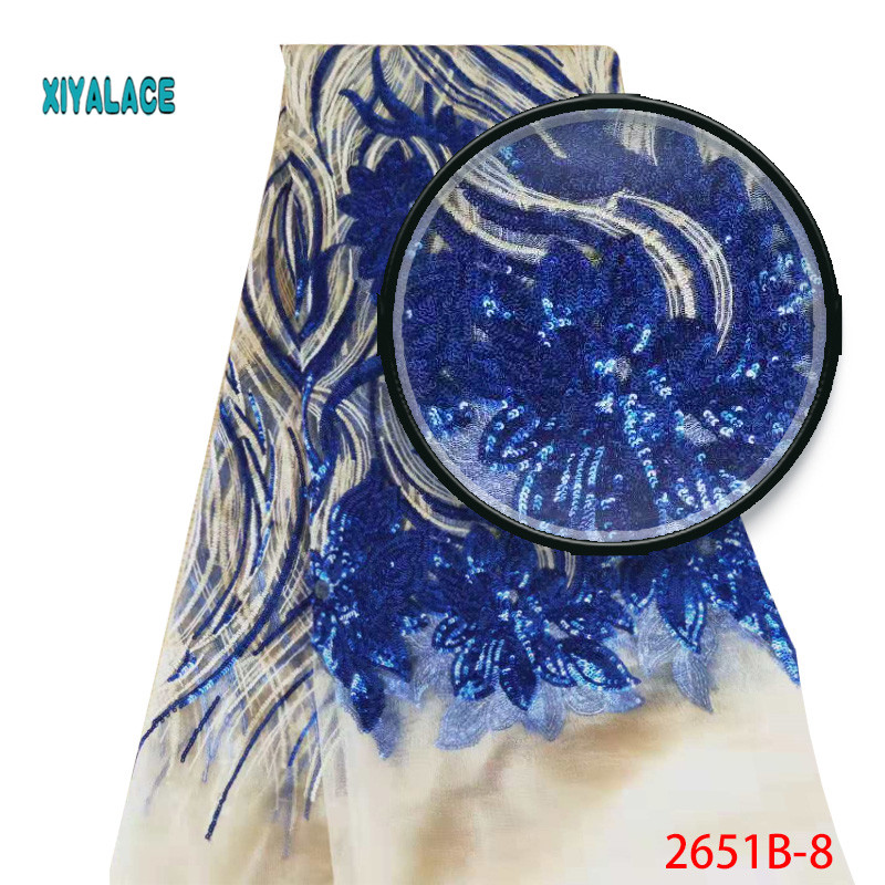 2019 New Arrival Sequins Lace Fabrics African Lace Fabric Luxury High Quality French Organza Lace Fabric For Wedding YA2651B-8