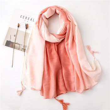 Women Gradient Scarf Coral Mint Girls Summer Printed Scarves Female Soft Beach Cape Shawl Wrap Tie Dye Long Scarf with Tassels floral embroidery bow tie scarves summer chiffon poncho cape women elegant ruffle long sleeve shawl female silk scarf sunscreen