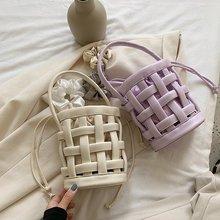 2Pcs/set Bolsos verano 2020 mujer designer Mini purses and handbags hollow out woven shoulder bucket bag unique crossbody bag