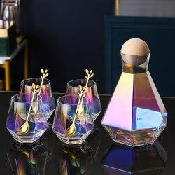 Luxo forma de diamante vidro chaleira com tampa bola de madeira natural limpar jarro de água fria suco bebida casa drinkware
