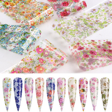 12 PCS/Set Nail Art Foil Stickers 3D Rose Flowers Leaf Transfer Nails Decal Wraps Sliders for Decorations Strips