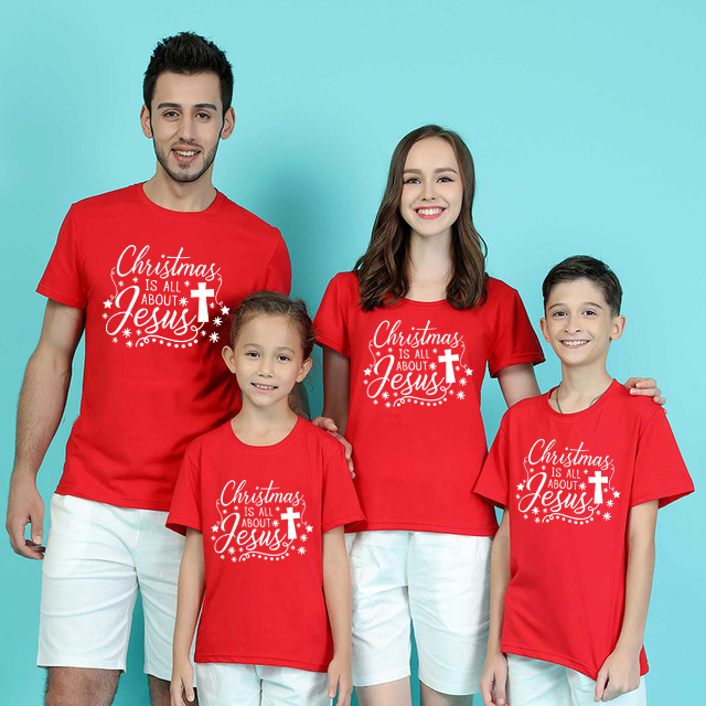 1pc Christmas Is All About Jesus Christmas Family Matching Clothes Baby Boys Girls And Parents Red Holiday Clothes Party Wear