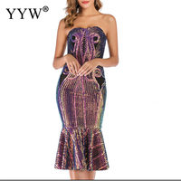 Luxury Colorful Sequins Cocktail Dresses Women Tube Top Knee Length Formal Party Gowns Sexy Mermaid Sparkling Fashion Club Dress