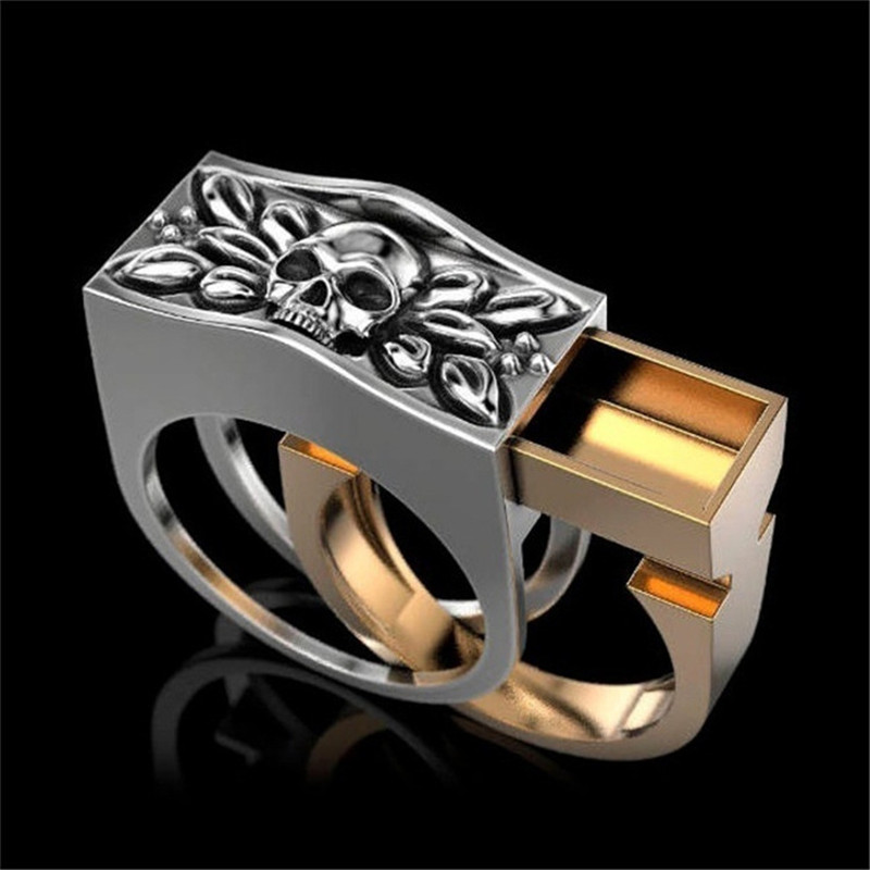 LETAPI 2020 New Gold Silver Color Colo Punk Vintage Skull Male Ring Cool Removable Ring for Man Dropshipping