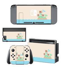 Autocollant de peau de croisement danimaux vinyle pour Nintendo Switch protecteur décran autocollant peau NS Console et Joy Con contrôleurs autocollants