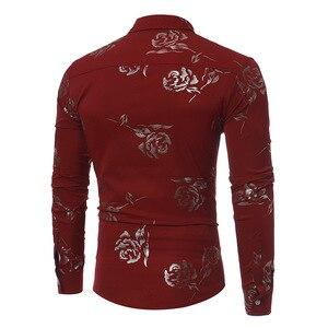 Image 5 - Neue Blumen Druck Shirt Männer Slim Fit Chemise Homme 2017 Luxus Marke Rose Blume Drucken Mens Dress Shirts Camisa Sozialen masculina