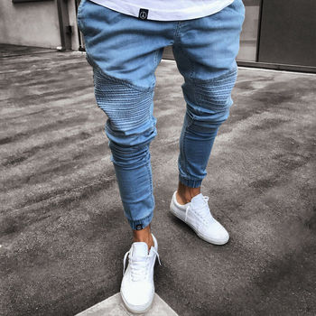 Fashion Men's Ripped Skinny Jeans Destroyed Frayed Slim Slim fit Stretch Denim Pant Zipper Destroyed Frayed Jeans Slim Denim фото