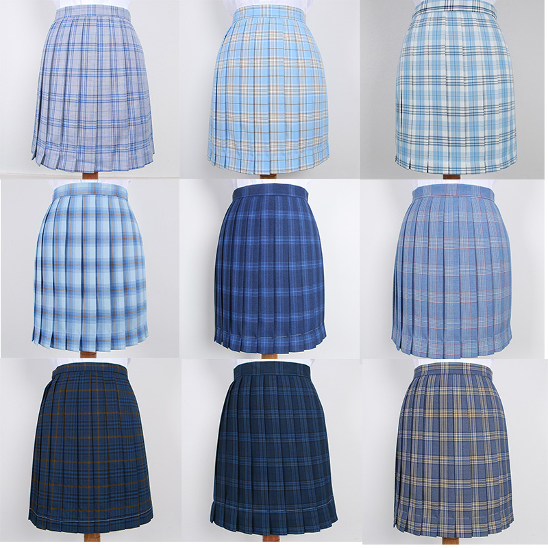 Japanese School Dresses Blue Plaid Pleated Skirt High Quality JK Uniform Skirt Students Cosplay Anime Sailor Suit Short Skirts