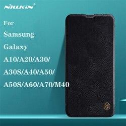 Do Samsung Galaxy A50 A50S A10 A20 A30 A30S A40 A60 A70 M40 etui z klapką nillkin qin skórzana klapka kieszeń na kartę etui na telefony