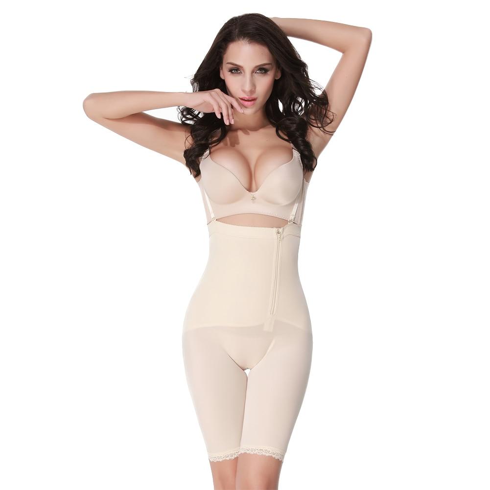 Women Firm Tummy Control Shapewear Post Surgery Postpartum Colombian Open Slimming Waist Side Zipper Lace Hem Bust Body Shaper