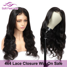 Soft Feel Hair 4*4 Lace Closure Human Hair Wig With Baby Hair Brazilian Body Wave Wig Remy #1B Lace Closure Wigs For Black Women(China)