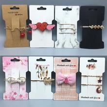 50pcs multi-style En Papier Kraft Cheveux Accessoires Carte Fait Main Bijoux Pince À Cheveux Bandeau Emballage Prix Étiquettes Cartes