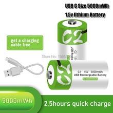 1.5v 5000mwh universal micro baterias de carregamento usb recarregável bateria tamanho c cobrado lipo lítio polímero batteria 5v 2a