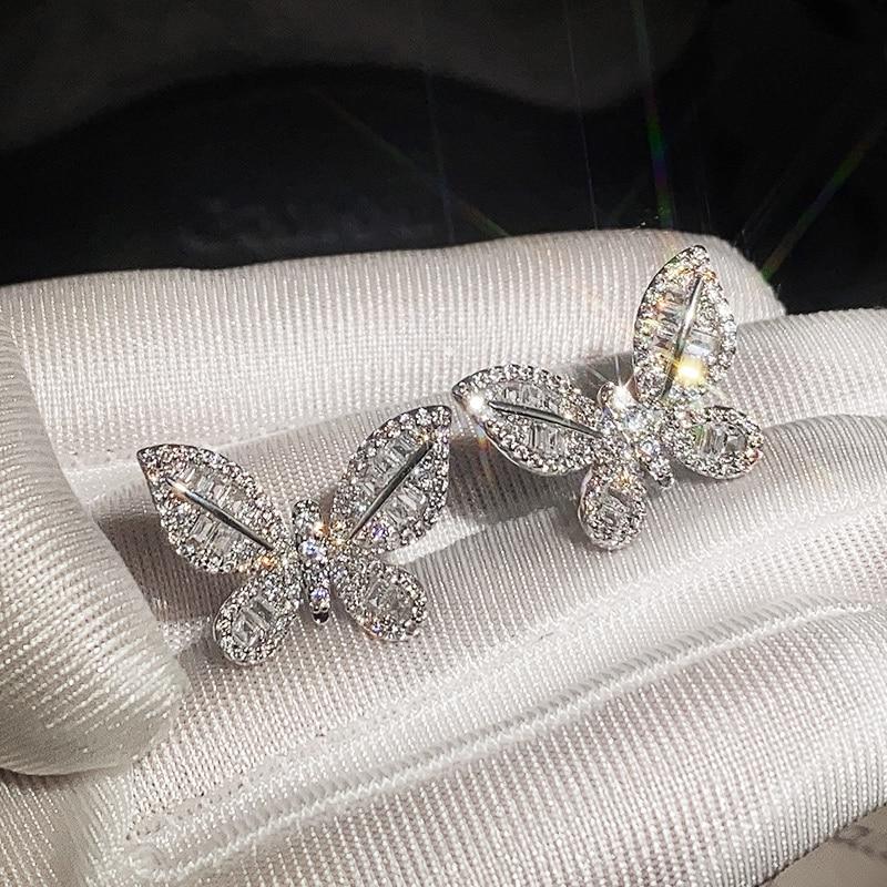 Huitan Luxury Silver Color Crystal Zircon Butterfly Women Earrings Fashion Jewelry Top Quality Hot Sale Lady Earring Best Gifts(China)