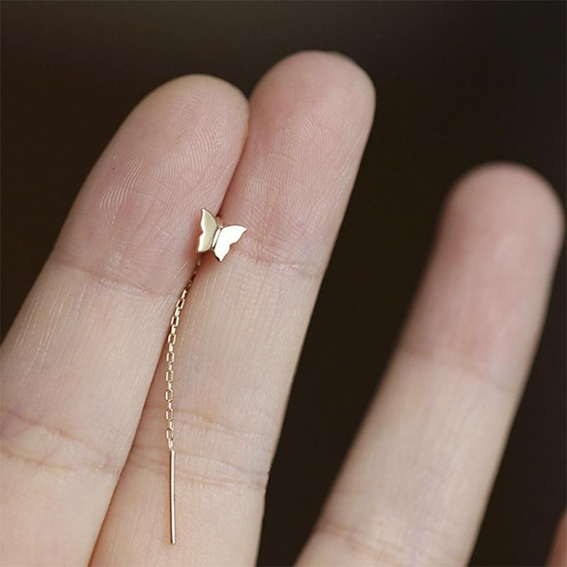 2020 Korean Style Butterfly Long Tassel Stud Earrings Animal Earrings For Women Wedding Jewelry Young Girls Gift Wholesale|Stud Earrings| - AliExpress