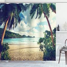 Cortina de ducha palmera, estilo Vintage de playa de verano, imagen de atardecer Tropical, conjunto de decoración para el baño con ganchos 70