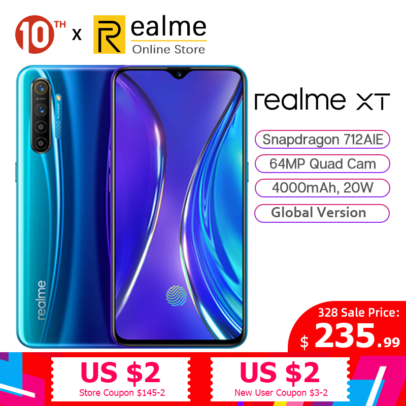 In Stock Global Version Realme XT 6GB 64GB Cellphone Snapdragon 712 AIE 6.4 Inches 64MP Quad Cam 4000mAh 20W VOOC Fast Charge