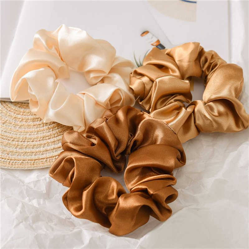 1PC Satin Silk Solid Color Scrunchies Elastic Hair Bands 2019 New Women Girls Hair Accessories Ponytail Holder Hair Ties Rope