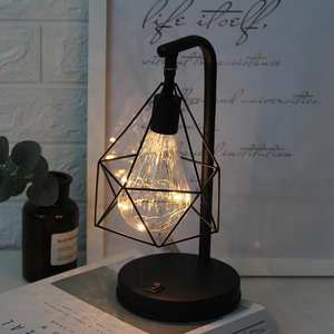 SOLLED Retro Hollow Iron Art LED Table Lamp for Bedroom Bedside Lighting