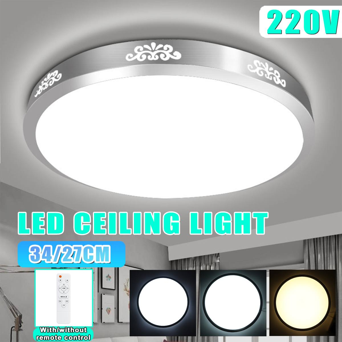 Dimmable LED Ceiling Lights 24W/48W Modern Led Ceiling Lamps For Home Living Room Surface Mounted Led Ceiling Lighting AC220V