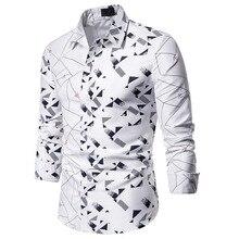 Белая Лоскутная рубашка с принтом, мужская рубашка, Homme,, фирменная Новинка, деловая Повседневная рубашка, Мужская облегающая уличная рубашка с длинным рукавом