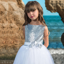 Girls Long Sleeves O-Neck Lace Ball Gown Flower Girl Dresses for Weddings Christmas