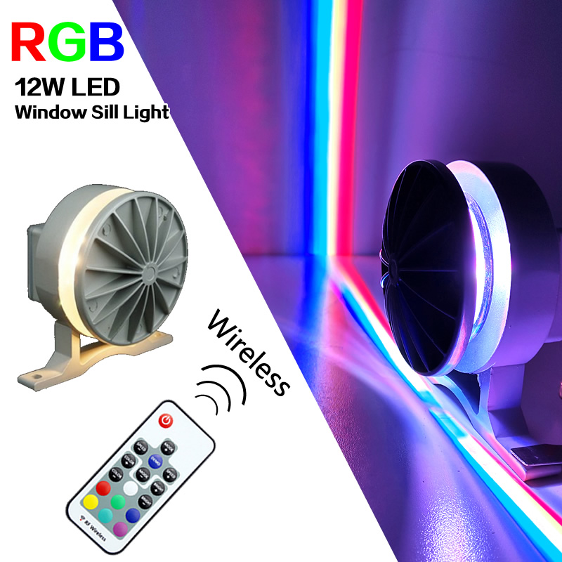 12W RGB LED Window Sill Light For Door Frame Wall KTV Hotel Bar Corridor Wireless LED Wall Lamps 360 Degree Waterproof IP67