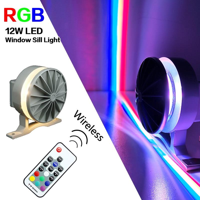 12W RGB LED Window Sill Light For Door Frame Wall KTV Hotel Bar Corridor Wireless LED Wall Lamps 360 Degree Waterproof IP67