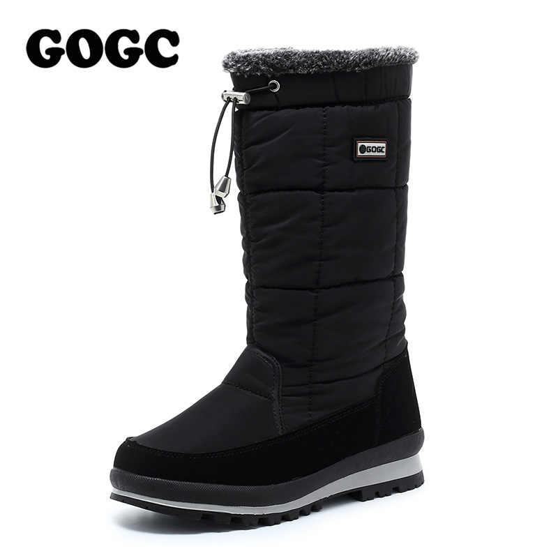 GOGC ผู้หญิงบู๊ทส์ลูกวัวกลางรองเท้าผู้หญิงรองเท้าบู๊ตหิมะกันน้ำฤดูหนาวรองเท้าผู้หญิงฤดูหนาวสูงรองเท้าผู้หญิงรองเท้าสีดำ G9637