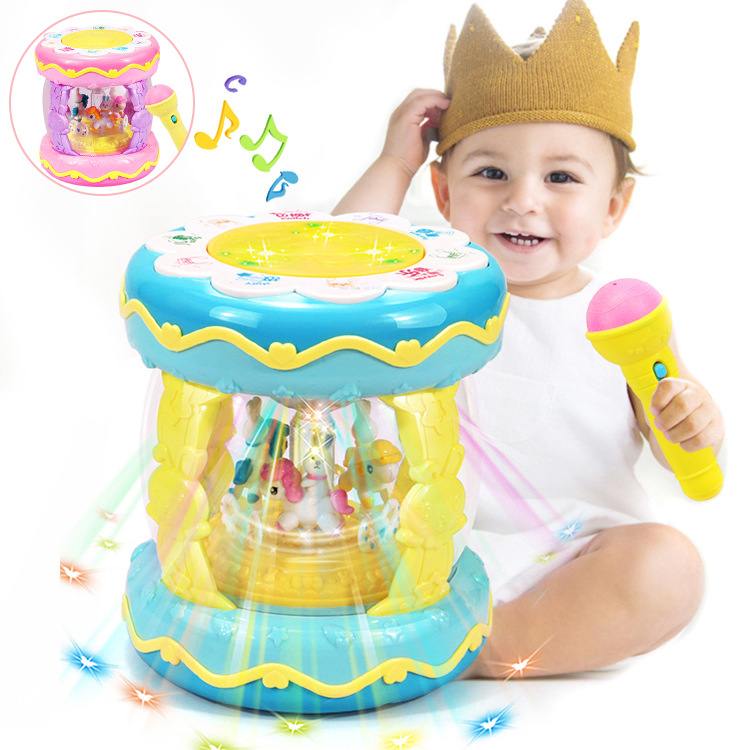Children Music Drum Dreamy Amusement Park Music Hand Drum Chargeable GIRL'S And BOY'S Merry-go-round Microphone Toy
