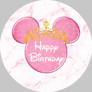 Image 1 - Girl Baby Birthday Photography Backdrop Pink Marble Mouse Round Backdrop Cover Circle Background Party Supplies Photocall Prop