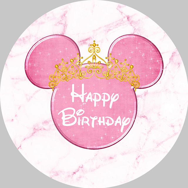 Girl Baby Birthday Photography Backdrop Pink Marble Mouse Round Backdrop Cover Circle Background Party Supplies Photocall Prop