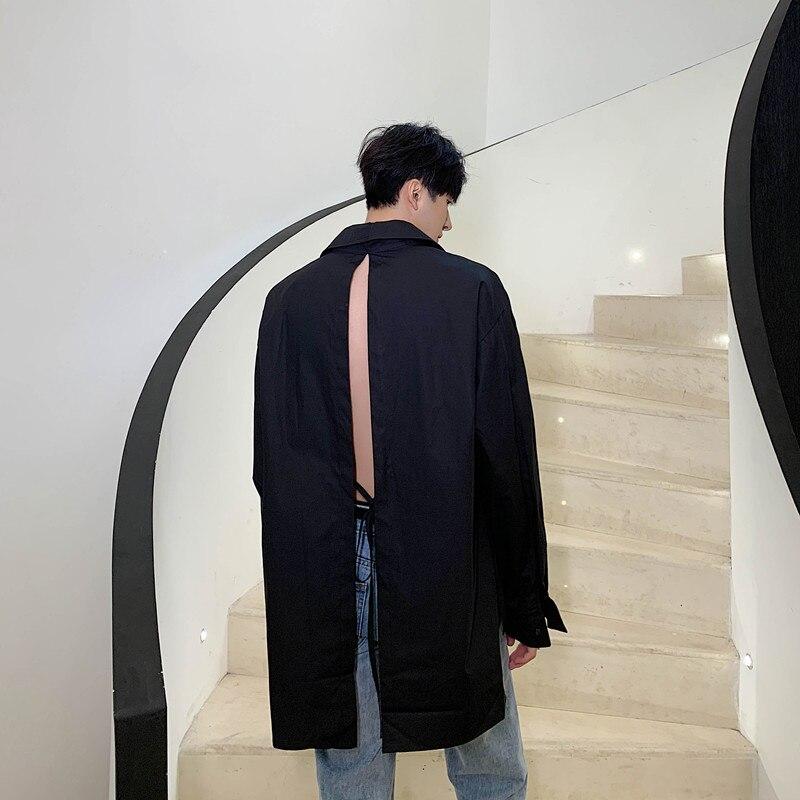 Men Back Hollow Long Sleeve Casual Black White Shirt Man Women Vintage Fashion Harajuku Streetwear Loose Shirts
