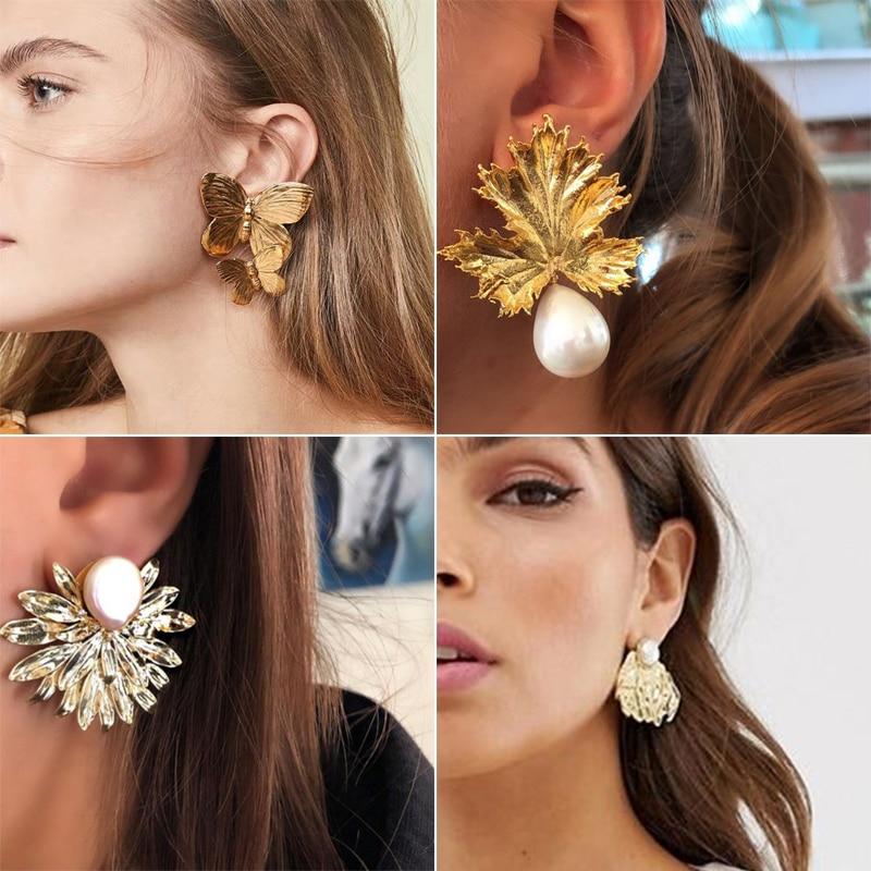 Tocona Charming Gold Maple Leaf Butterfly Big Geometric Dangle Earrings For Women Jewelry Fashion Statement Pearl Earrings