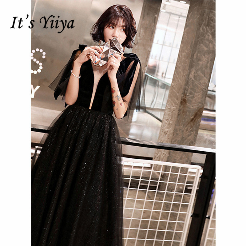 It's Yiiya Evening Dress 2019 Sleeveless Bow Lace Up Black Sequins Dresses Elegant V-neck Floor Length A-Line Dresses E1294