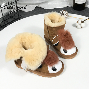 Children's Snow Boots for Boys and Girls Shoes Fashion Genuine Leather Nature Wool Fur Warm Kids Boots Non-slip Snow Shoes 23-35