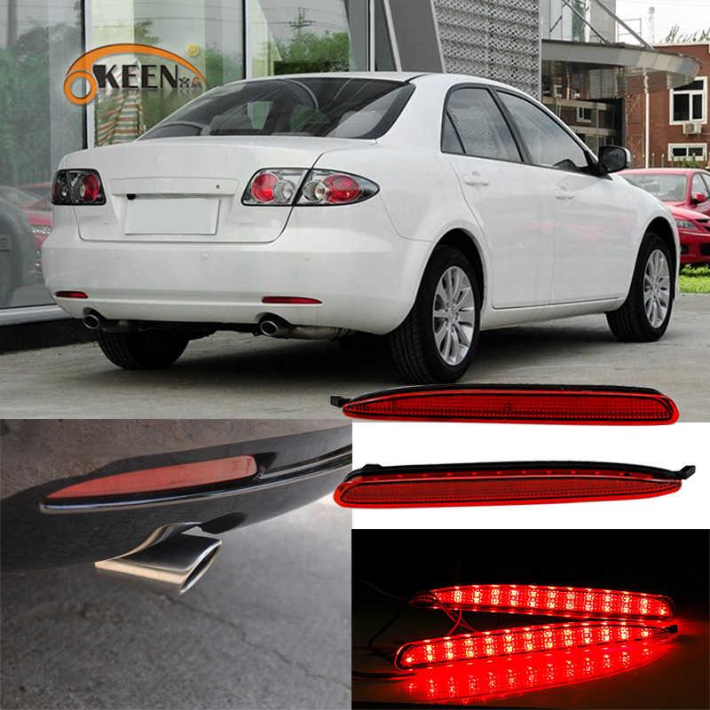 2 piezas para Mazda 6 Mazda6 2003-2008 Reflector de parachoques trasero Freno de cola para correr luz de giro advertencia de estacionamiento conducir lámpara de la niebla