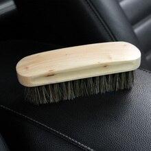 Cuidado automático punho de madeira detalhando ferramentas de limpeza lavagem de carro horsehair escova detalhe limpo escova auto interior mais limpo