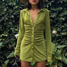 Manga longa botão até veludo camisa mini vestido para mulher queda acima do joelho lapela com decote em v ruched bodycon elegante streetwear
