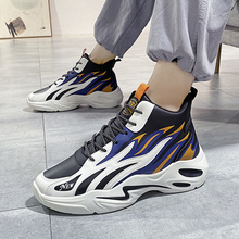 Men's trendy shoes high-top flame leather casual shoes lace-up wear-resistant sneakers Chaussure Homme crossover hiking shoes