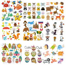 Iron on Cute Animal Owl Patches for Kids Clothes DIY T-shirt Applique Heat Transfer Vinyl Cat Dog Unicorn Patch Stickers D