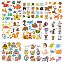 Iron on Cute Animal Owl Patches for Kids Clothes DIY T-shirt Applique Heat Transfer Vinyl Cat Dog Unicorn Patch Stickers D(China)