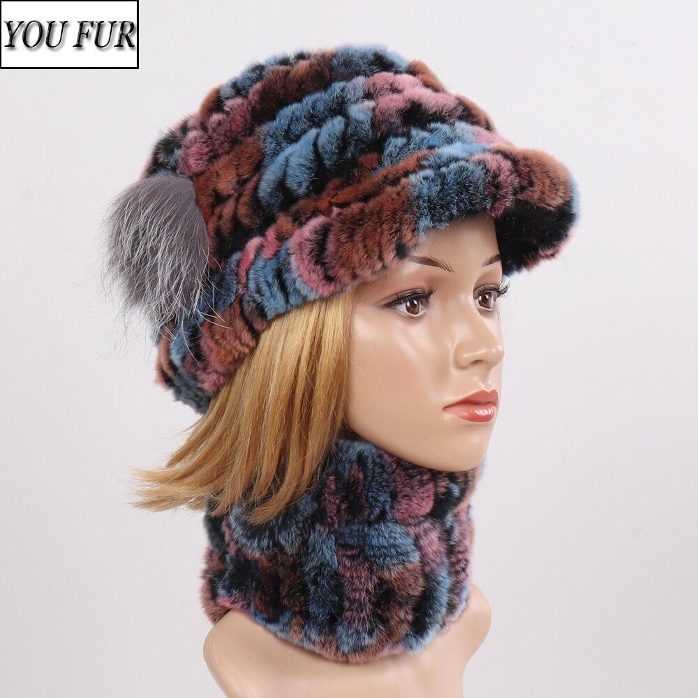 Hot Sale Women Elasticity Real Fur Hat Scarf Natural Warm 100% Genuine Rex Rabbit Fur Cap Scarves Sets Lady Fashion Real Fur Hat